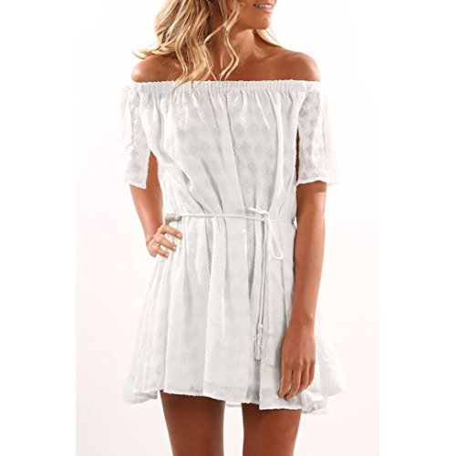 KanLin Damen Aus Schulter gekräuseltes Kleid Casual Mini Beach Party Dress Weiß