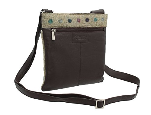 Pelle di Mala ABERTWEED collezione Leather & Tweed Croce Body Bag 752_40 prugna Spot: Brown Spot