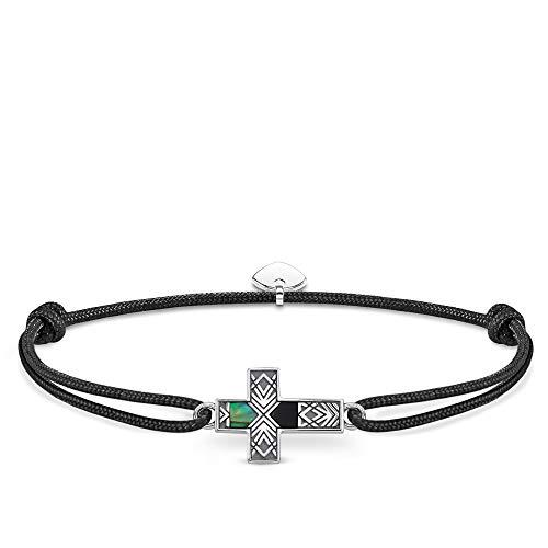 Thomas Sabo Unisex-Armband Little Secret Kreuz Abalone Perlmutt 925er Sterlingsilber geschwärzt LS083-482-11-L22v