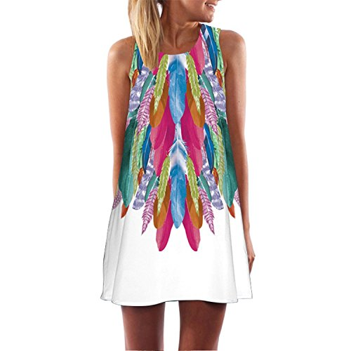 (Sexy Women Cartoon Print A-Line Dress Round Neck Sleeveless Casual Party Dresses,Style 13,L)