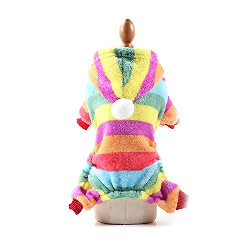 Fesjoy Hundebekleidung Haustier-Ausstattungs,Herbst-Winter-Hundehoodie-Nette Strickjacke-Warme Haustier-Ausstattungs-Kleidungs-Regenbogen Xs