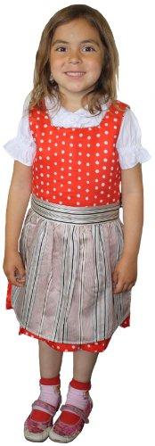 German Wear 3-tlg Kinder Dirndl Mädchendirndl Dirndlbluse Dirndlschürze Kleid Rot