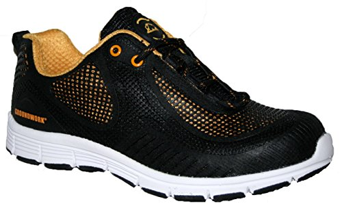 MENS GROUNDWORK STEEL TOE CAP SAFTEY ULTRA LIGHT WEIGHT LACE WORK TRAINER SHOES (UK9, Blk/Yellow)