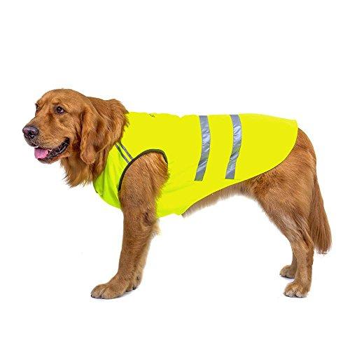 Bwiv Gilets de sécurité pour chiens Chat Manteau Protecteur de ventre Bande réfléchissante Épaississant en tissu avec un trou de laisse Vert Jaune 2XL (longueur du dos 45cm, poitrine 55-60cm)