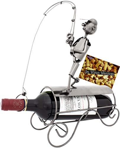 Brubaker Portabottiglie per Vino dal Design Pescatore - Scultura in Metallo con Biglietto d'auguri