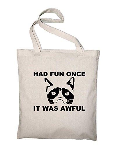 Had Fun Once It Was Awful Grumpy Cat Jutebeutel Natur