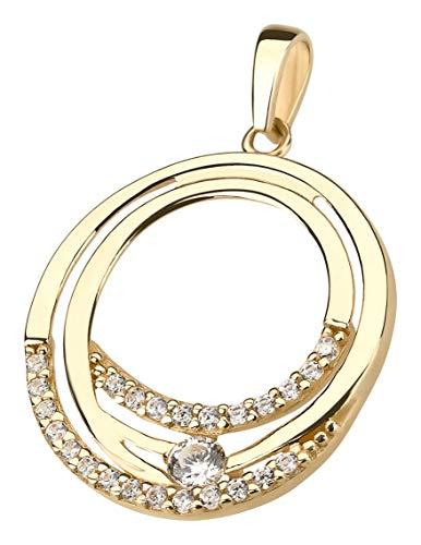 Ardeo Aurum Damen Anhänger aus 333 Gold Gelbgold mit Zirkonia im Brillant-Schliff rund Kreis