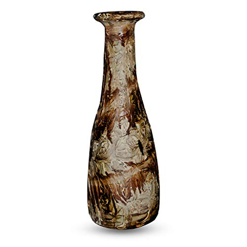 Rural Handmade Flask_006 Vase, handgefertigt, antikes Design, handbemalt, Keramik, für Wohnaccessoire, Blau/Hellbraun