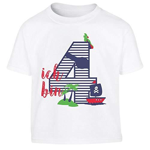 (Shirtgeil Ich bin Vier Geschenk Geburtstag Kleinkind Kinder T-Shirt - Gr. 86-116 106/116 (5-6J) Weiß)