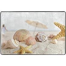ingbags amarillo playa arena de estrella de mar Conchas salón comedor alfombra 3x 2pies cama habitación alfombra oficina alfombra moderno piso alfombra alfombras decoración del hogar, poliéster, multicolor, 3 x 2 Feet