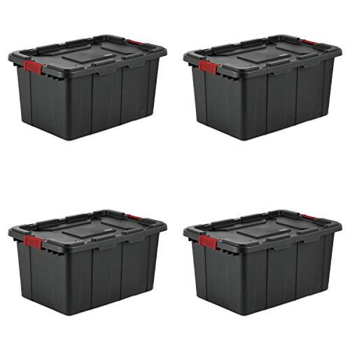 Sterilite 1466900427L/102Liter Industrie Tote, schwarz Deckel und Boden W/Racer rot Laschen, 4er Pack - Tote Papierkorb