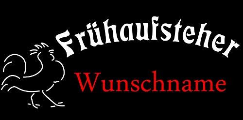 """T-Shirt Schlaf-Shirt """"Frühaufsteher"""" mit Wunschname bedruckt (Foliendruck) Schwarz"""