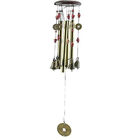 dairyshop Bronze Carillon éolien avec 4tubes 5cloches pour jardin Yard Living Decor cadeau