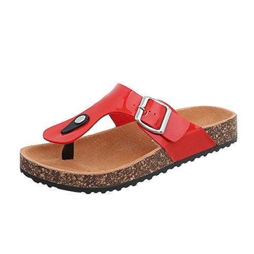 Ital-Design Zehentrenner Damen-Schuhe Sandalen Sandaletten Rot, Gr 40, Ku-8-