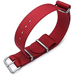 MiLTAT 18mm G10 NATO Watch Strap, Ballistic Nylon Brushed Hardware, Color Red