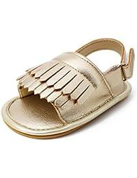 Tefamoer Zapatos Sandalias Bebe de borla pequeño Princesa Walkers Niñas Niños