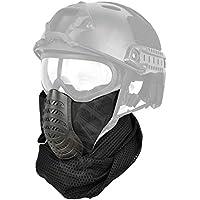 e22351409b44b4 QMFIVE Demi-Masque De Protection Visage Moitié en Maille avec Les Sangles  Réglables pour Airsoft