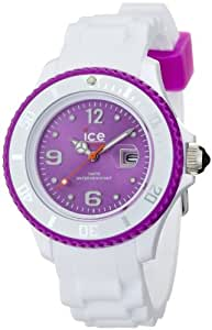 ICE-Watch - Montre Mixte - Quartz Analogique - Ice-White - White - purple - Small - Cadran Violet - Bracelet Silicone Blanc - SI.WV.S.S.11