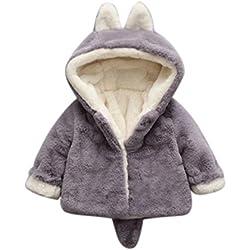 Famille Bébé Filles Manteau d'automne Hiver des Garçons, Veste à Capuche Vêtements Chauds (3-6Mois, Gris)