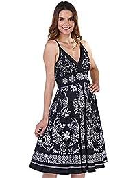 Ladies 100% Cotton Strappy Sleeveless Summer Sun Dress, Various Styles