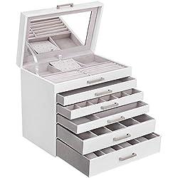 SONGMICS Boîte à Bijoux Grande Coffret à Bijoux 6 Étages Miroir pour Boucles d'Oreille Colliers Bracelets Montres Lunettes, Blanc JBC138