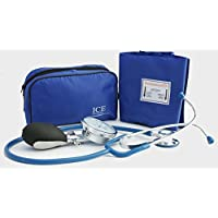 Aneroid Blue Sphygmomanometer With 1 Adult Cuff and Blue Stethoscope - Blood Pressure Monitor Kit by