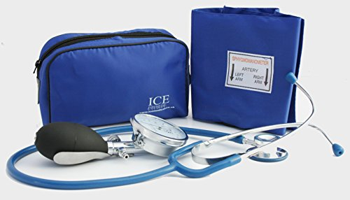 Aneroid Blue Sphygmomanometer With 1 Adult Cuff and Blue Stethoscope - Blood Pressure Monitor Kit by ICE Medical -