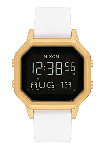 Nixon Siren SS a1211508–Montre numérique pour femme avec boîtier doré et bracelet en silicone blanc.