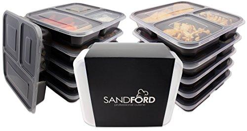 (Set da 11) Contenitori Sandford PREMIUM per preparazione pasti / contenitore porta pranzo /Bento box/ contenitore con 3 scomparti e coperchi / preparazione di pasti sani & salvaguardare la preparazione, conservare e mangiare fresco