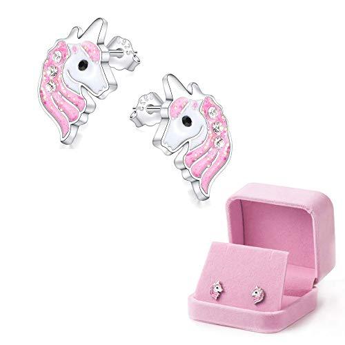 Unicornio Stud Pendientes Aretes Rosa Claro espumoso para niñas pequeñas niños Joyería Fiesta de cumpleaños con Caja de Regalo de Terciopelo (Pendientes)
