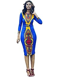 Yanhoo Femmes À Manches Longues Mode Robe Africaine Imprimer Robe Dames  Décontracté Robe Droite Mode Filles D été Sexy… 42d1247c901