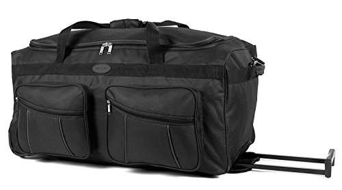Wheeled Holdall | Alexander Graham| Roller Travel Duffel Bag |30 inch huge capacity holdall with wheels with 2 zipped compartment pockets on the side | Pull out Handle | Black
