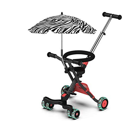 Carrito de bebé Carretilla de tres ruedas para niños Carbono de aleación de aluminio Ligera y plegable simple Black-766 (Color : A)