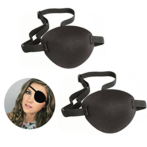 Pirate Eyes Parches, 2 Piezas Eye Patch Parches de Ojo Perezoso con Ajustable Hebilla para Adultos y Niños, Negro