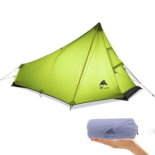 Kikilive 3F UL Ultraleichtes Camping Zelt im Freien 3 Jahreszeit,1 Einzelperson Ultraleichtes Zelt wasserdichte Silikonbeschichtung für den Sommer Ineinander greifen kampierendes Zelt