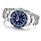 Gigandet Automatik Herren-Armbanduhr Sea Ground Taucheruhr Uhr Datum Analog Edelstahlarmband Blau Silber G2-009 - 8
