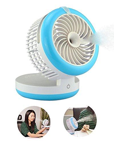Mini USB Ventilateur de refroidissement Rechargeable Multifonction Portable Petit Fan de Bureau Brumisateur et Humidificateur