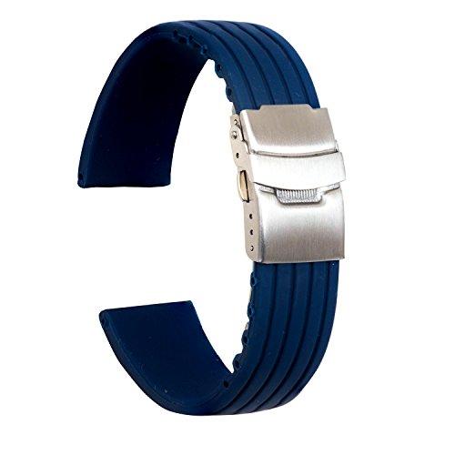 Ullchro Bracelet Montre Haute Qualité Remplacer Silicone Bracelet Montre Stripe Pattern - 16mm, 18mm, 20mm, 22mm, 24mm Caoutchouc Montre Bracelet avec Boucle Déployante Acier inoxydable (22mm, bleu)