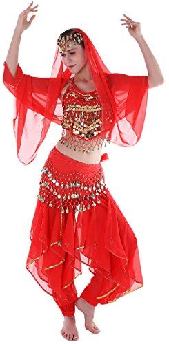Bauchtanz Kostüm Damen Indische Kleidung Karneval kostüme Oberteil Schleier Hüfttuch Hose Rot (Bauchtanz Kostüme Amazon)