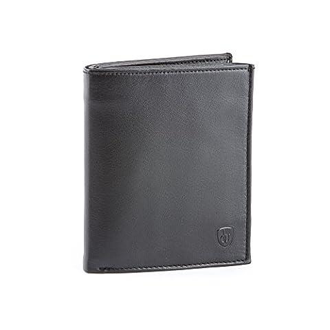 Grand portefeuille pour homme en cuir Nappa avec fermeture éclair intérieure porte-monnaie et doubles rabats DV Noir