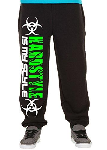 Hardstyle is My Style Männer und Herren Jogginghose | Hardcore Musik Techno Gabber Geschenk | M2 (Schwarz-Druck Neongrün, XXL)