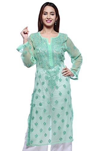 ADA Handmade Lucknowi Chikankari Faux Georgette Kurti Kurta Regular Wear A130756