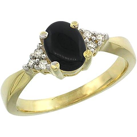 In oro giallo 14 k, colore: nero Onyx-Anello ovale, 7 x 5 mm, taglio diamantato, taglie J-T