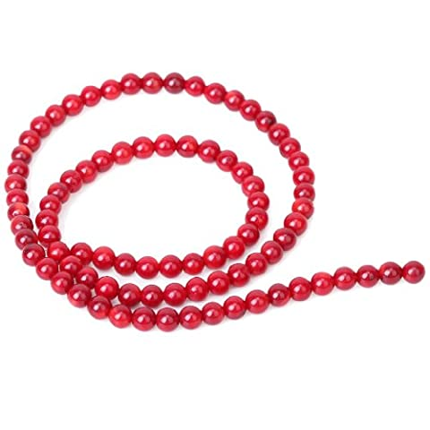 4mm Perles Rondes Vrac en Corail Rouge Naturelle -