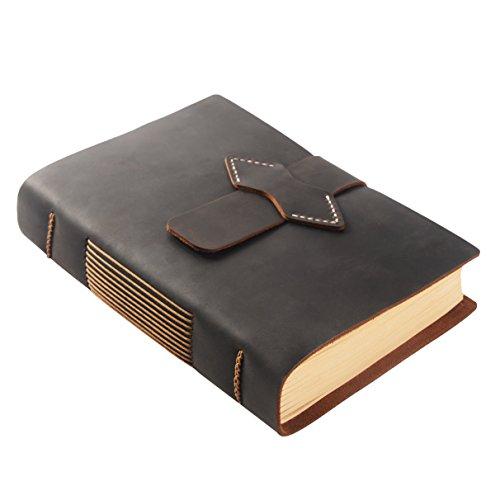 ScrodCat Ledertagebuch, A5-Notizbuch, antik, handgefertigt, ledergebunden, für tägliche Notizen, mit Blanko-Seiten, 20x 15cm, ideales Geschenk, Reisetagebuch crazyhorse Dunkelbraun