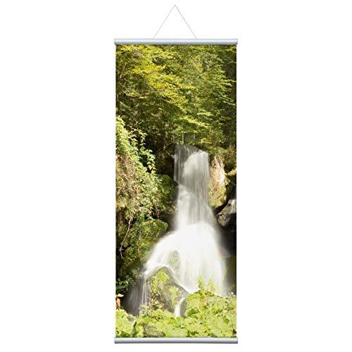 Wasserfall, Natur Stoffbanner Komplettset - Wandbild, Schaufensterdeko, Praxisdeko, Wanddeko, Werbebanner (80x200 cm)