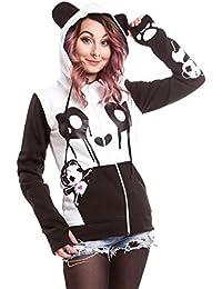 Killer Panda - Sudadera con capucha, diseño panda, para mujer, negro y blanco