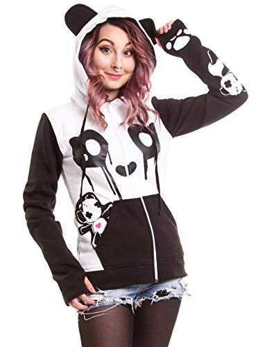 Killer Panda Kp Breakup Cute Kawaii Funny Character da donna con cappuccio nero bianco White/Black Small