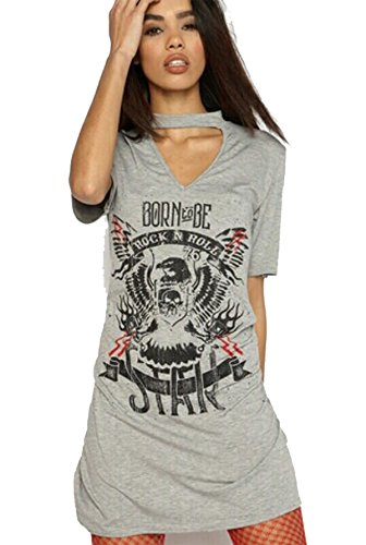Friendz Trendz Ladies Choker Neck Nasce per Essere Rock Star Rock N Roll Slogan Top Grey