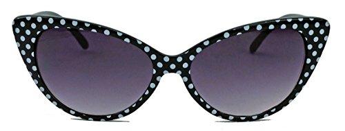 50er 60er Jahre Damen Retro Sonnenbrille Cat Eye Katzenaugen Rockabilly Modell FARBWAHL KE (Small Dots Black)